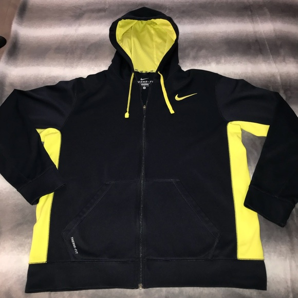 e7fb2de4b36a Nike Full Zip Black   Neon Yellow Therma Hoodie. M 5aa1801085e6059aa50a870e